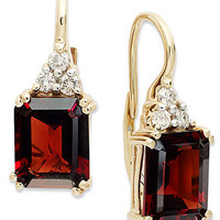 14k Gold Earrings, Garnet (7-1/5 ct. t.w.) and Diamond (3/8 ct. t.w.) Leverback Earrings - Earrings - Jewelry & Watches - Macy's