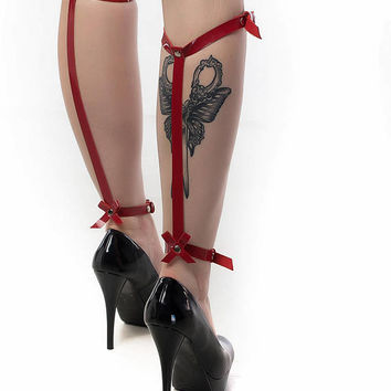 Leather leg garter, BDSM harness, Sexy Leg Garter, Fetish harness,  Sexy garter, Garter harness, bondage leather