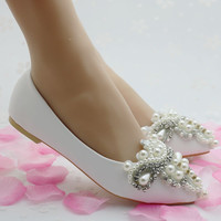 Fashion pearls flower flats for women pointed toe flats flat heel women wedding shoes red color flats white flats women