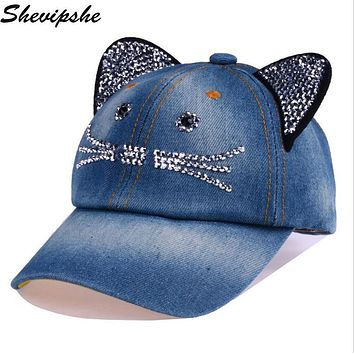 Shevipshe Summer kids hats Cat Ear Baseball Cap Children Cotton rhinestone pointed Cap boy girl Snapback Hat Gorras Diamond Caps