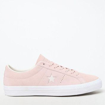 DCCKJH6 Converse One Star Premium Suede Low Top Pink and White Shoes