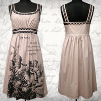 Alice in Wonderland screenprinted Cotton Dress Beige