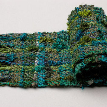 Chunky handwoven shawl in turquoise green Wool scarf, OOAK unisex fall winter accessories