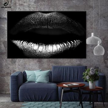 JHLJIAJUN Wall Picture Canvas Painting Poster Wall Art Print Sexy Lips Black White  Painting Home Decor For Living Room