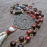Upcycled, recycled, repurposed Chinese coin necklace - Lucky coin amulet - Bohemian tassel jewelry - Tribal fusion jewelry - Chinese zodiac