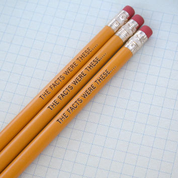 the facts were these engraved pencil set 3 yellow pencils. for super sleuths and spies...