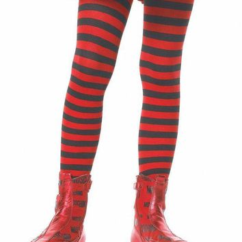 ONETOW Girl Stripe Tights in BLACK/RED