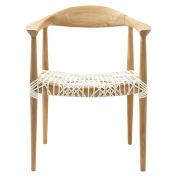 Safavieh Fes Arm Chair - White/Teak