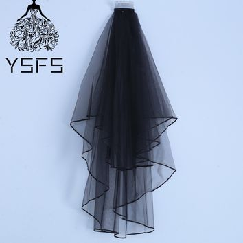 YSFS Two Laters Black White Ivory Short Bridal Veils Satin Edge Bridal Wedding Veils Voile De Mariee Head Veils