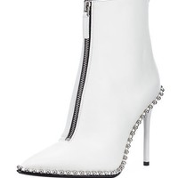 Alexander Wang Eri Leather Dual-Zip Booties with Studs