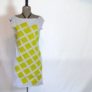 Yellow Checkers Tee Dress by JessalinBeutler on Etsy