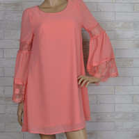 Coral Reef Chiffon Shift Dress-Lace Bell Sleeves-Peach