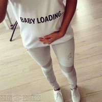 Baby Loading T-shirt Maternity Pregnancy Funny T-shirt