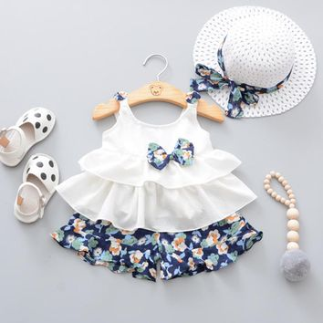 2018 Summer Newborn Baby Girl Clothes Strap Bow Vest + Floral Shorts + Fashion Hat 3Pcs Set Baby Clothing Suit For Girls Clothes