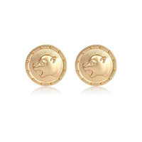 Gold tone leopard stud earrings - earrings - jewellery - women