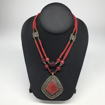 Turkmen Necklace Afghan Antique Tribal Fashion Multi Strand Beaded Necklace S125