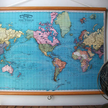 Large Canvas Vintage Style School Map with Wood by GrittyCityGoods