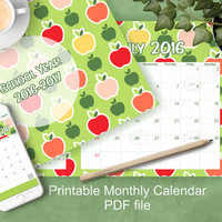 printable monthly calendar, new school year 2016 - 2017, letter size planer, colorful apples, welcome back gift, instant download