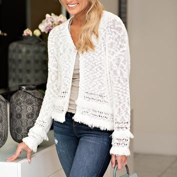 Fringe Benefits Knit Cardigan : Ivory