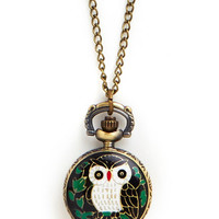 ModCloth Owls Perched for Punctuality Pocket Watch Necklace