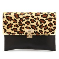 LEOPARD TRIM ENVELOPE CLUTCH
