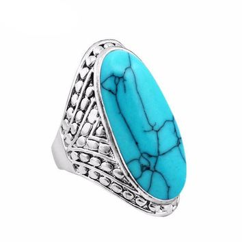 ESBONEJ Vintage Antique Silver Plated Oval Turquoise Ring