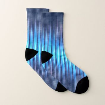 Abstract Cyan Blue Steady Lights Socks