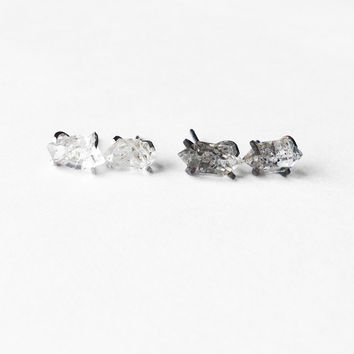 Herkimer diamond or Black Quartz Prong Earrings in Sterling or gold filled
