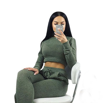 Army Green Long Sleeve Top and Drawstring Sweatpants
