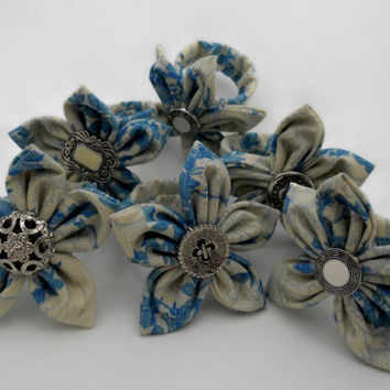 6 Floral Blue Napkin Rings with Silver & Pearl by ReThinkMe