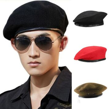 Unisex Military Army Soldier Hat Wool French Beret Men Women Uniform Adjust Cap