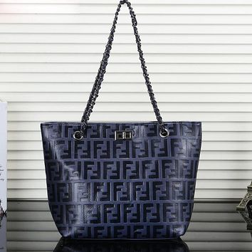 Fendi Fashion New More Letter Print Leather Women Shopping Shoulder Bag Handbag Blue