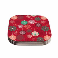 """julia grifol """"Christmas Balls"""" Red Green Pattern Holiday Vector Coasters (Set of 4)"""