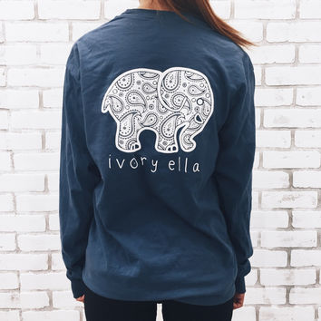 True Navy Paisley Tee