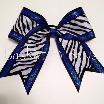 Large Cheer or Softball Bow - Zebra and Dazzle/Glitter