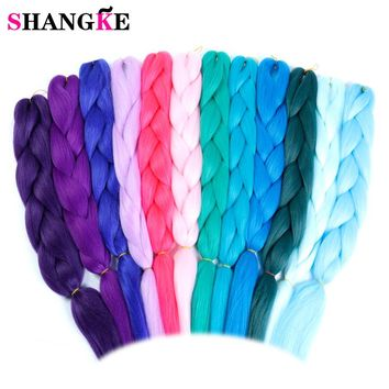 Pink Purple Blue Blonde Color Synthetic Kanekalon Jumbo Braids Ombre Braiding Hair Extension Black White Women