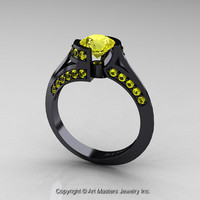 Modern French 14K Black Gold 1.0 Ct Yellow Sapphire Engagement Ring Wedding Ring R376-14KBGYS