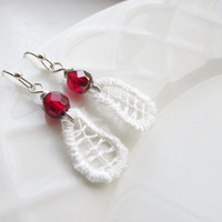 Pomegranate and Lace, Czech Glass Earrings, Lace Earrings, Valentines Day Gift, Red and White