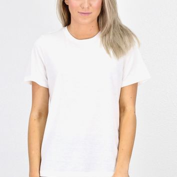 Basic Short Sleeve Heathered Tee {Off White}