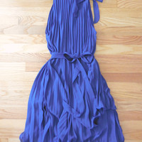 Charming Pleated Party Dress in Blue