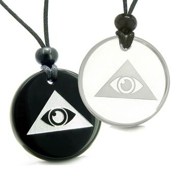 Amulets Love Couples Best Friend Mystical All Seeing Eye of God Triple Pyramid Quartz Onyx Pendants