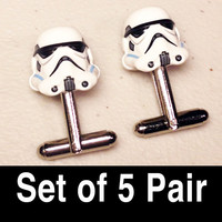 Groomsmen Gifts, Wedding, Storm Troopers on silver toned cufflinks in gift box, Set of 5 Pair