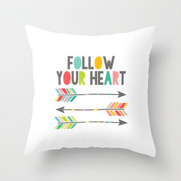 "Inspirational ""Follow Your Heart"" arrow inspired quote, typography home decor throw pillow cover, decorative pillow home accessory"