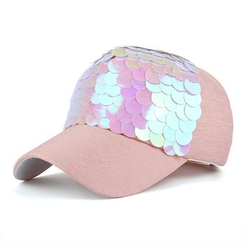 Spring Autumn Adjustable Sequins Shiny Snapback Casual Women's Baseball Cap Ball Hat Black Pink