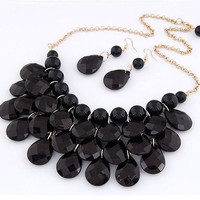 New Black Bubble Statement Necklace and Earring Set Independent Designer one size by Alisha's Fashion