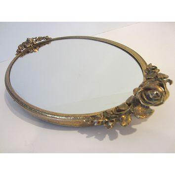Matson Style Rose Decorated Handles Ormolu Mirror Tray