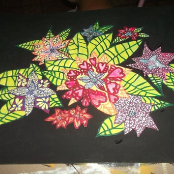 Unique Hand Painted Poinsettia Christmas Flower Tangle Doodle Zen With Black Background Abstract Art Free Shipping Coupon