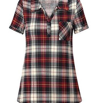 Youtalia Womens Summer Short Sleeve Plaid Blouses Button Down T Shirt Casual Tunics