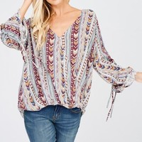 Aztec Woven Top in Red