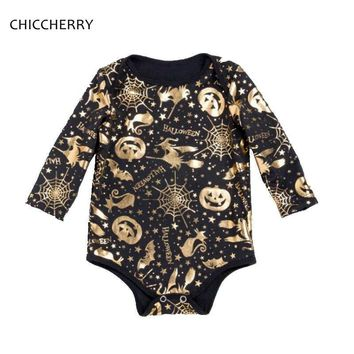 Long Sleeve Black Romper Jumpsuit with Witch Pumpkin Gold Printing Kids Halloween Costume For Baby Girl Clothes Infant Clothing